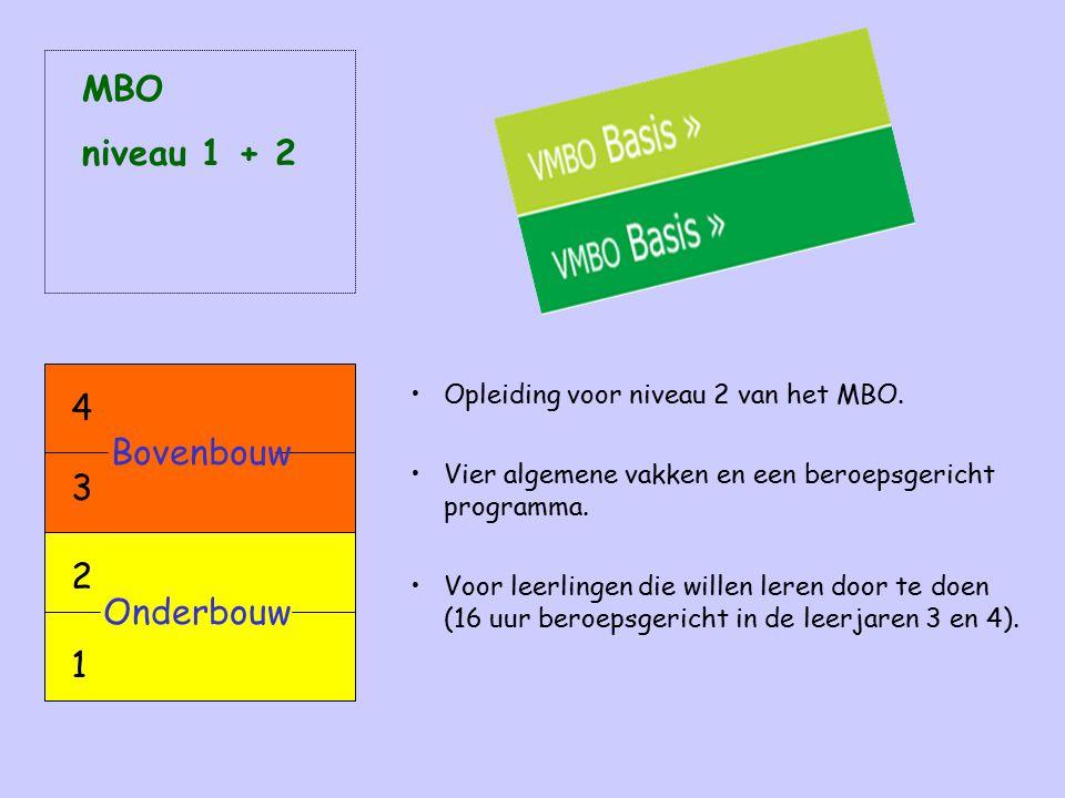 MBO niveau 1 + 2 4 Bovenbouw 3 2 Onderbouw 1