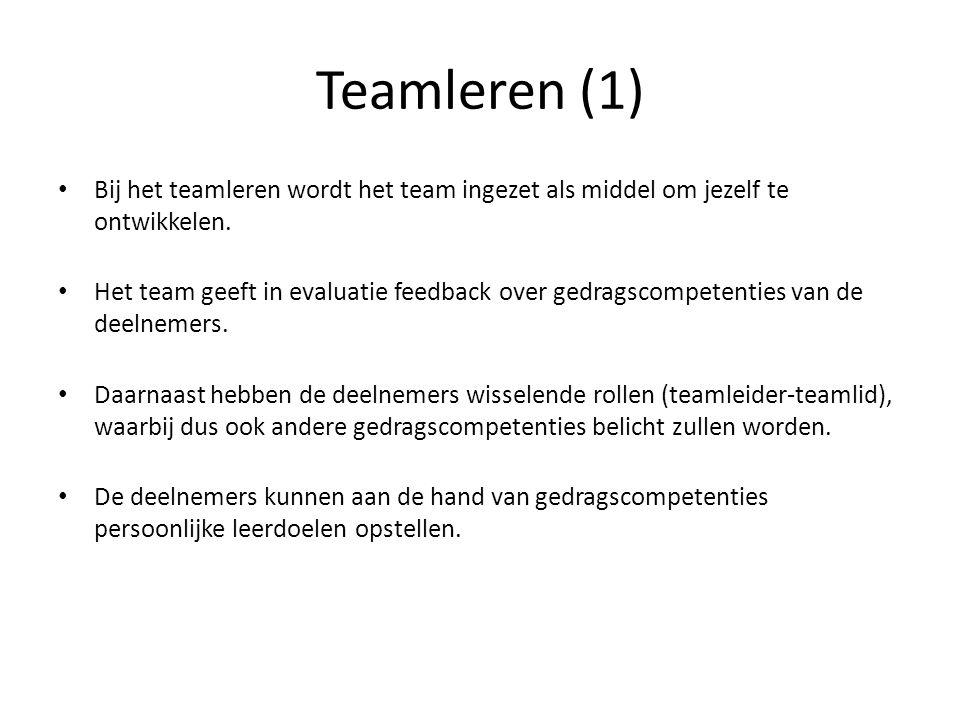 Teamleren (1) Bij het teamleren wordt het team ingezet als middel om jezelf te ontwikkelen.
