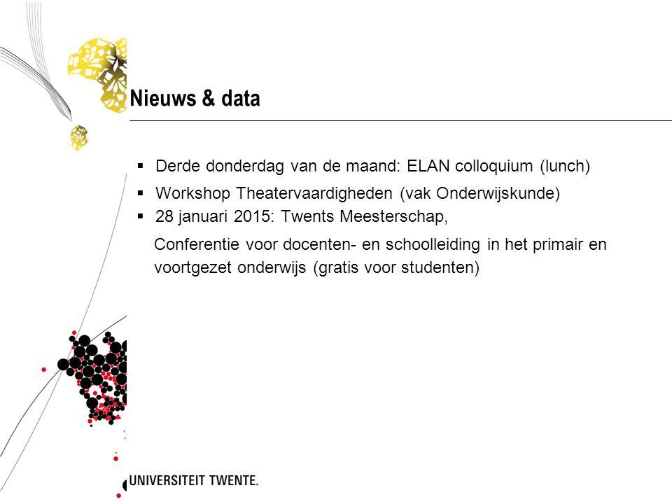 Nieuws & data Derde donderdag van de maand: ELAN colloquium (lunch)