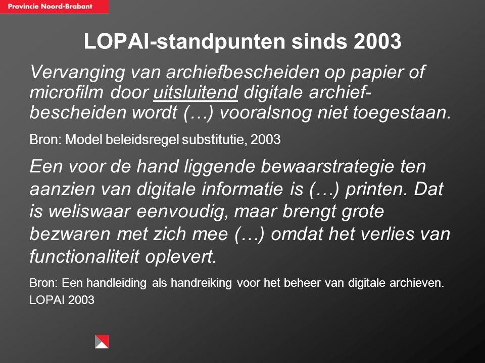 LOPAI-standpunten sinds 2003