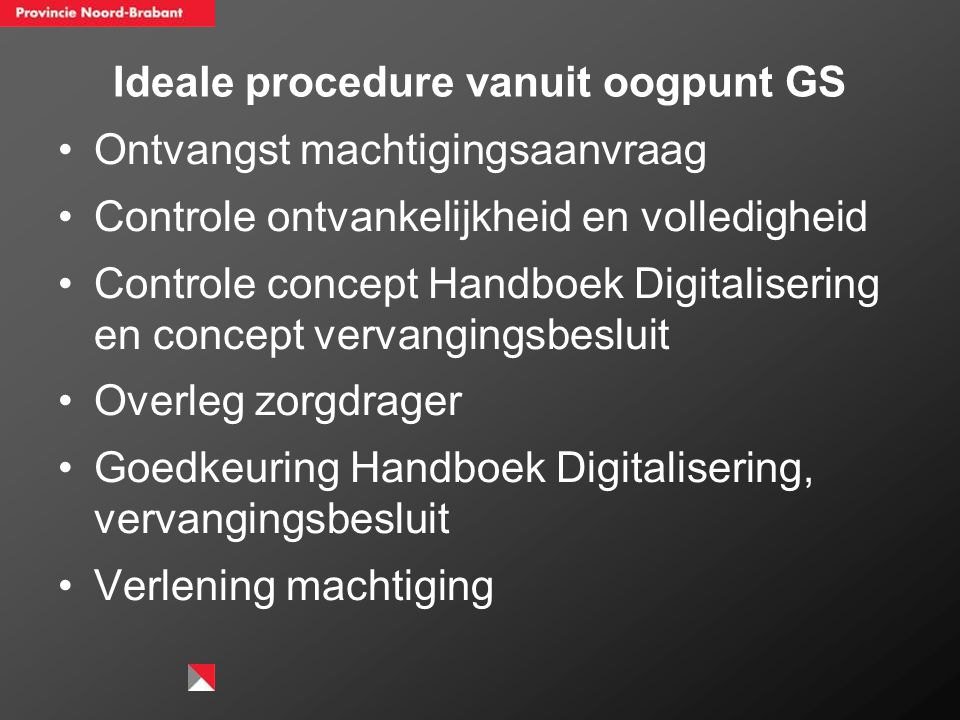 Ideale procedure vanuit oogpunt GS