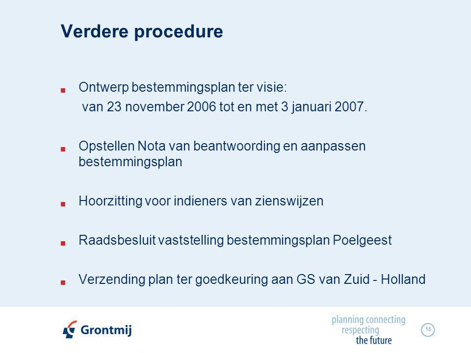 Verdere procedure Ontwerp bestemmingsplan ter visie: