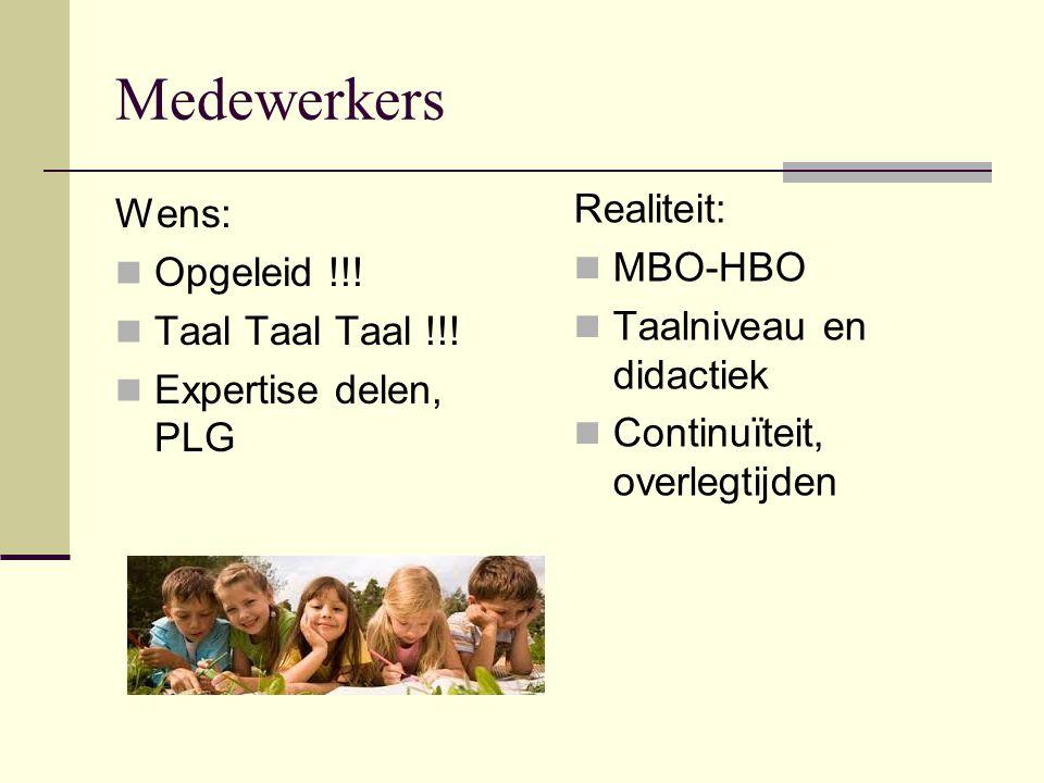 Medewerkers Realiteit: Wens: MBO-HBO Opgeleid !!!