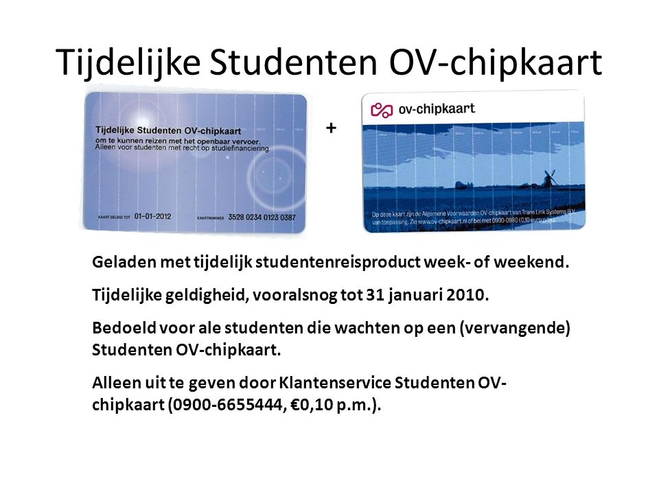 Tijdelijke Studenten OV-chipkaart