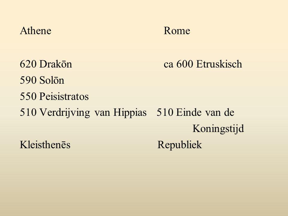 Athene Rome 620 Drakōn ca 600 Etruskisch. 590 Solōn. 550 Peisistratos. 510 Verdrijving van Hippias 510 Einde van de.