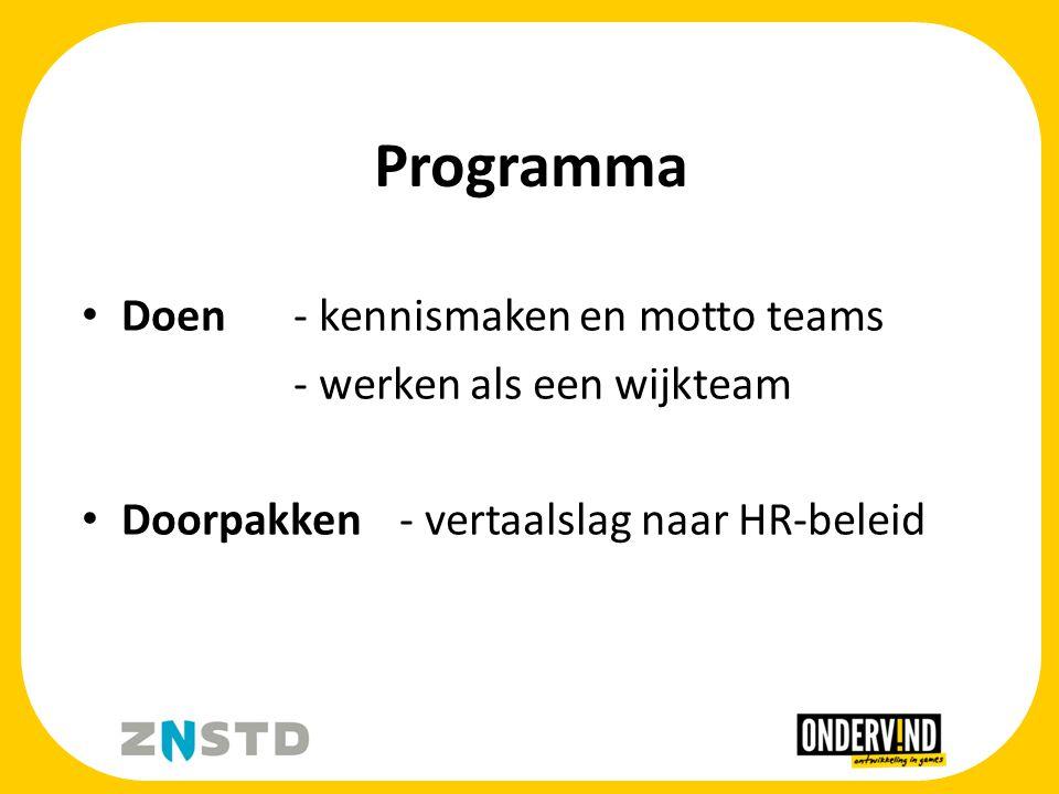 Programma Doen - kennismaken en motto teams - werken als een wijkteam