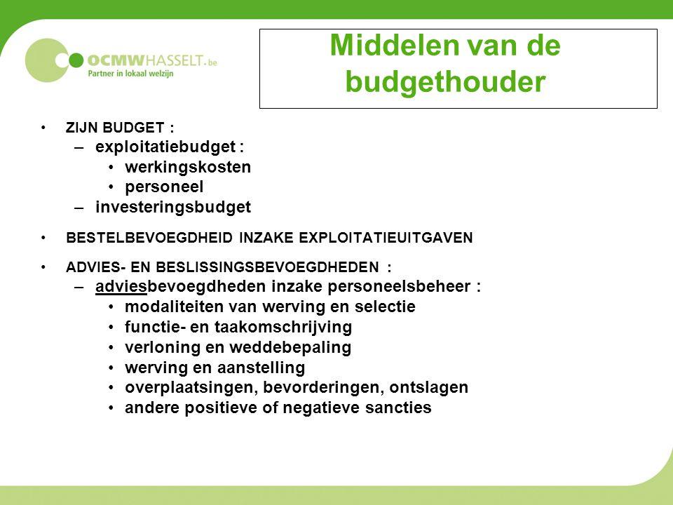 Middelen van de budgethouder