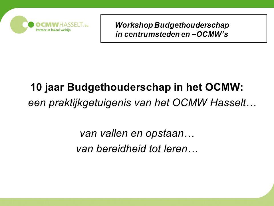 Workshop Budgethouderschap in centrumsteden en –OCMW's