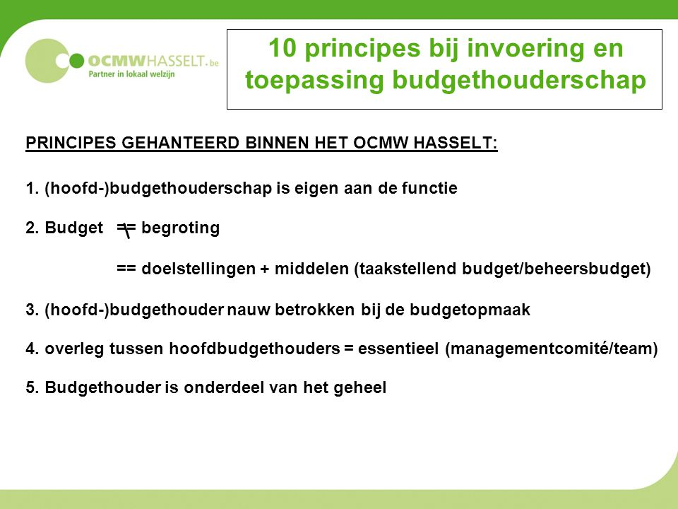 10 principes bij invoering en toepassing budgethouderschap