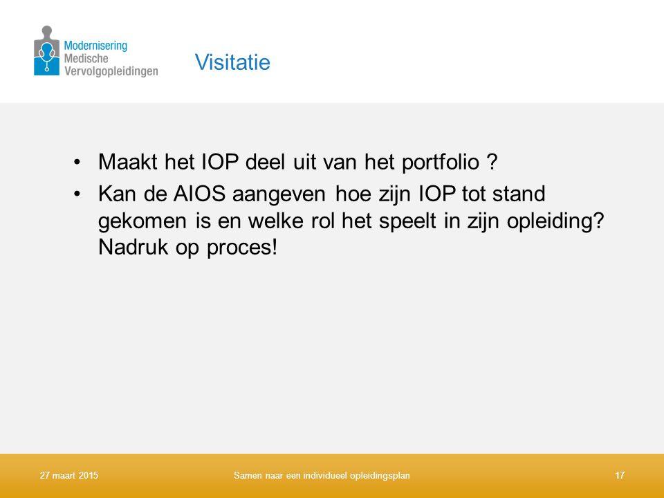 Maakt het IOP deel uit van het portfolio
