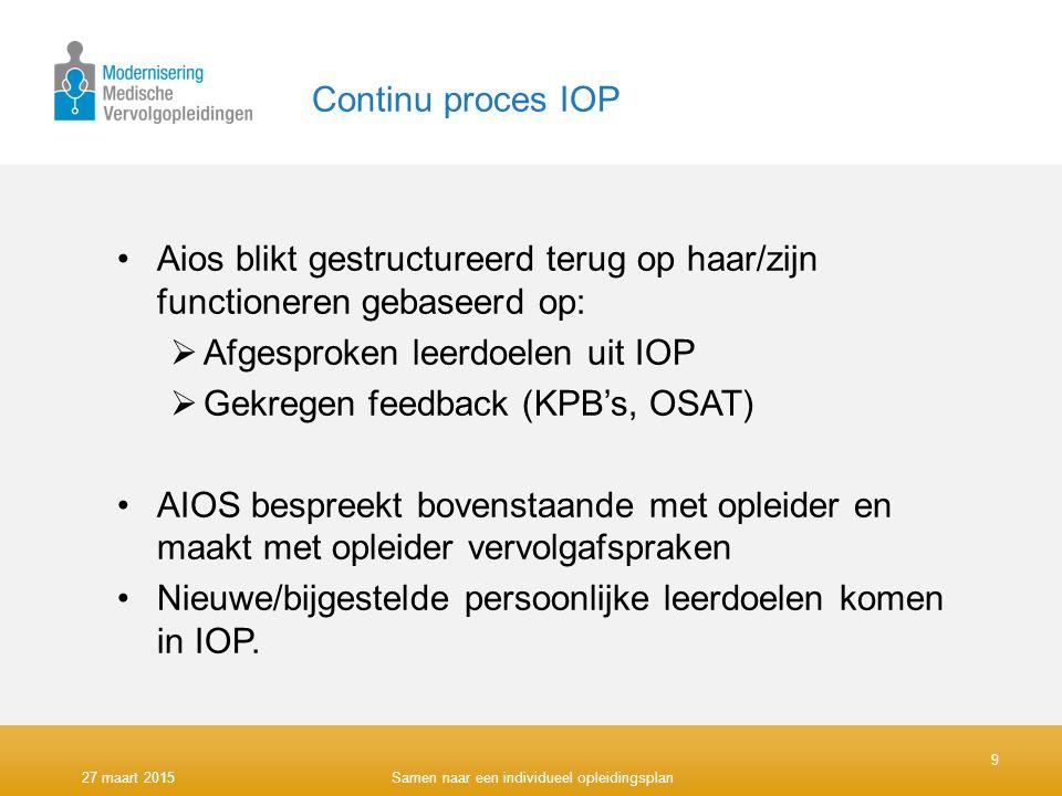 Afgesproken leerdoelen uit IOP Gekregen feedback (KPB's, OSAT)