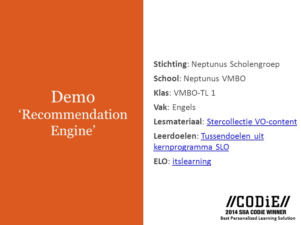 Demo 'Recommendation Engine'