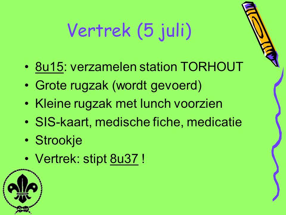 Vertrek (5 juli) 8u15: verzamelen station TORHOUT