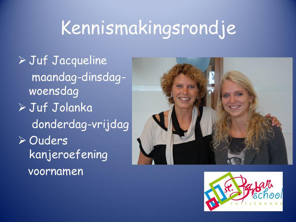 Kennismakingsrondje Juf Jacqueline maandag-dinsdag-woensdag
