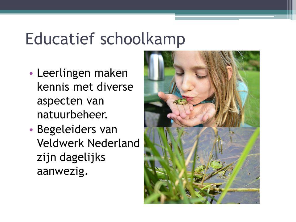 Educatief schoolkamp Leerlingen maken kennis met diverse aspecten van natuurbeheer.
