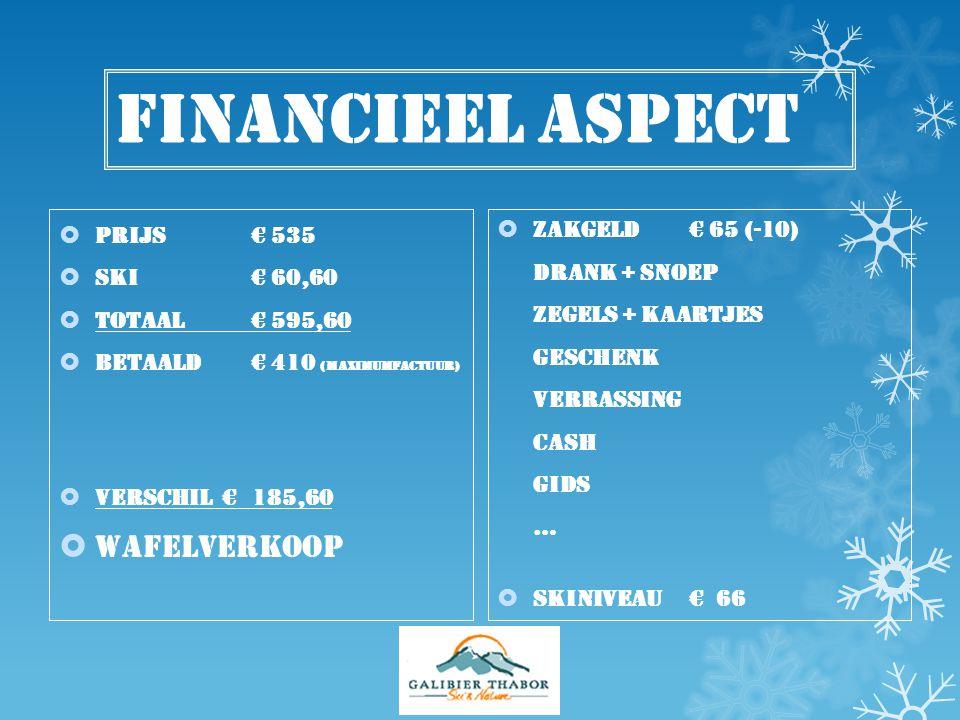 Financieel aspect wafelverkoop Prijs € 535 Zakgeld € 65 (-10)