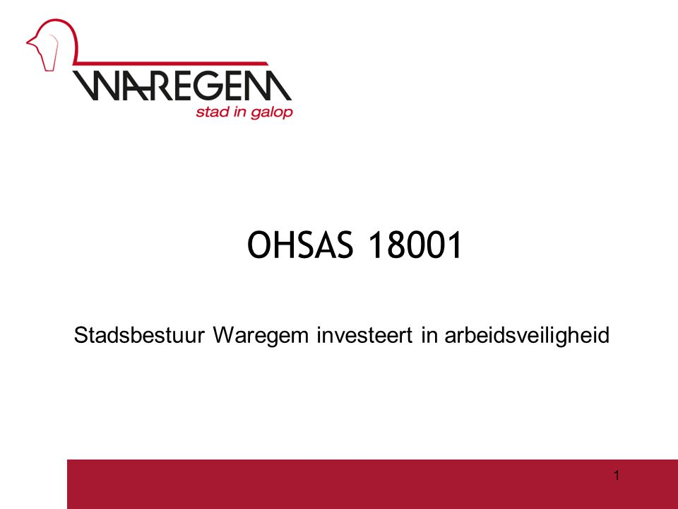 OHSAS 18001 Stadsbestuur Waregem investeert in arbeidsveiligheid Jeugdwerking 2009