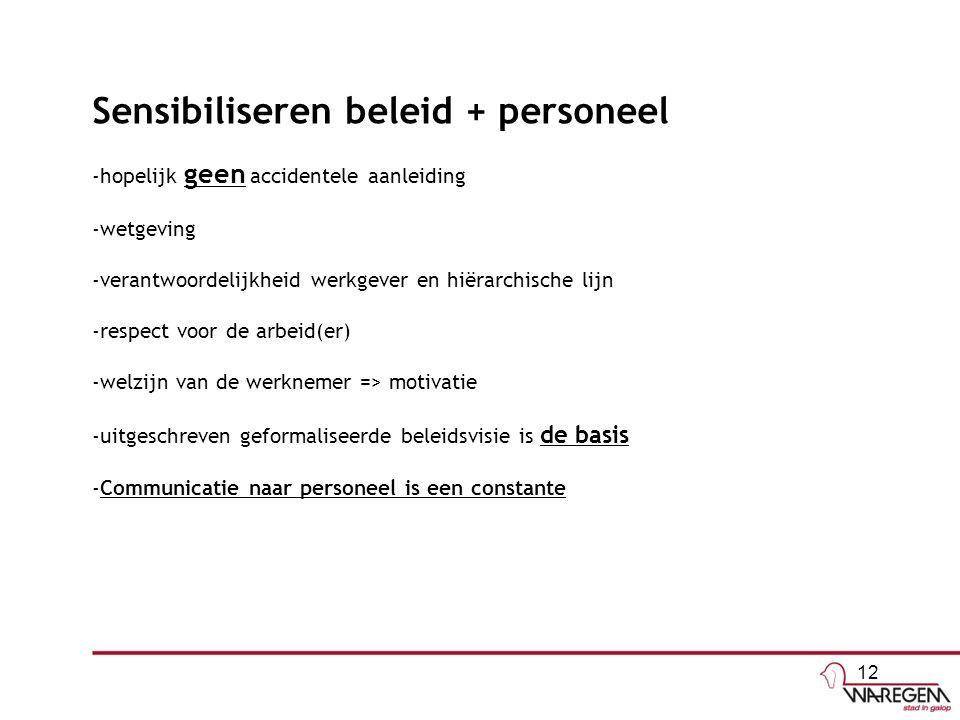 Sensibiliseren beleid + personeel