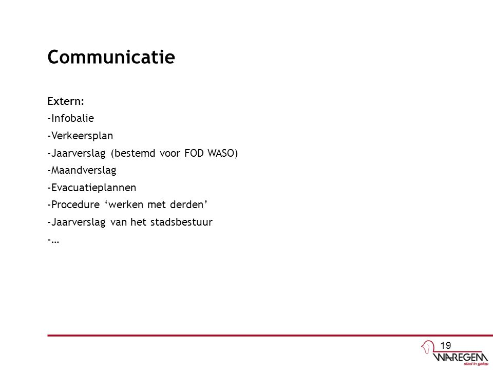 Communicatie Extern: Infobalie Verkeersplan