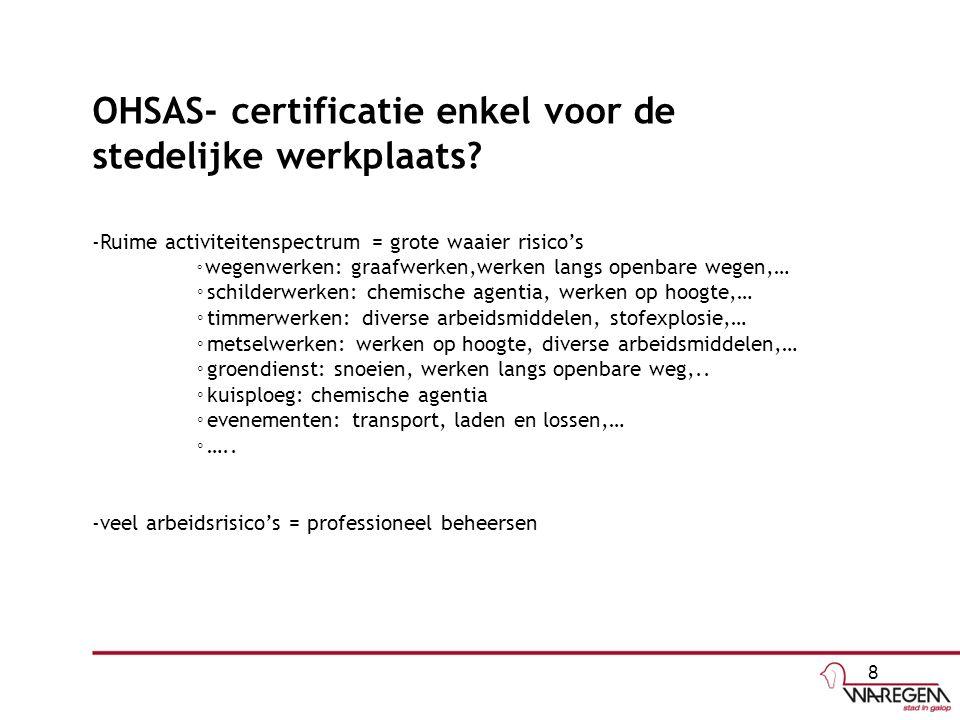 OHSAS- certificatie enkel voor de stedelijke werkplaats