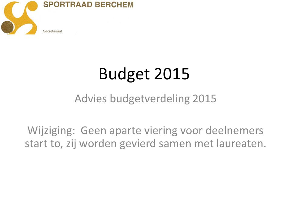 Advies budgetverdeling 2015