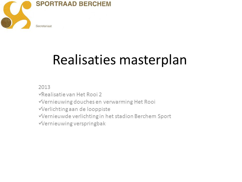 Realisaties masterplan