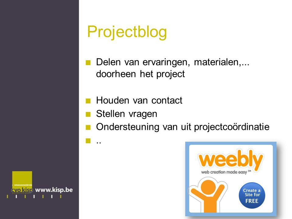 Projectblog Delen van ervaringen, materialen,... doorheen het project