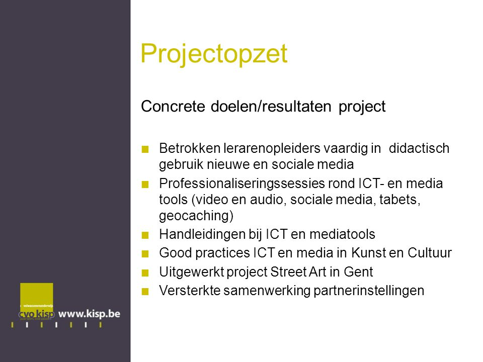 Projectopzet Concrete doelen/resultaten project