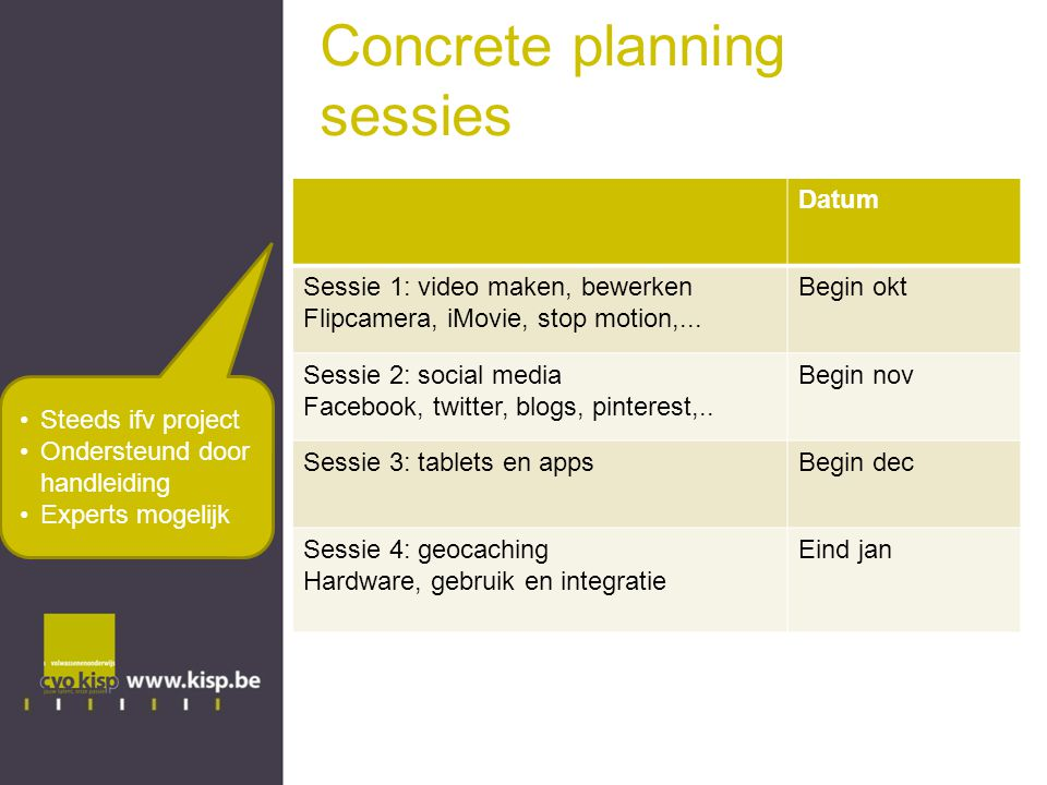 Concrete planning sessies