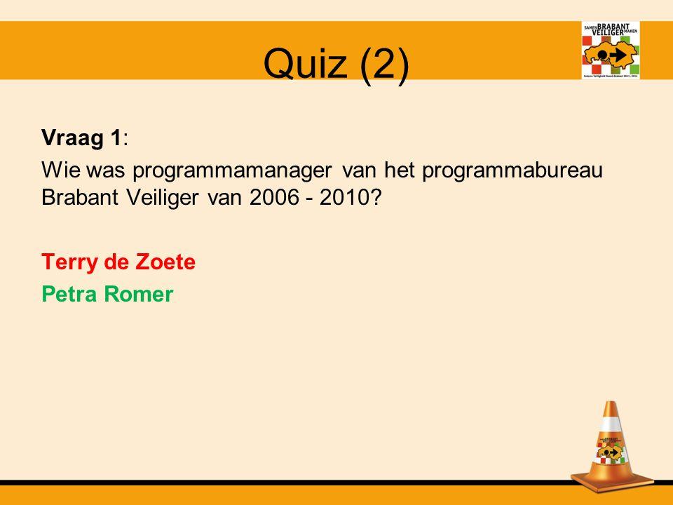 Quiz (2) Vraag 1: Wie was programmamanager van het programmabureau Brabant Veiliger van 2006 - 2010.