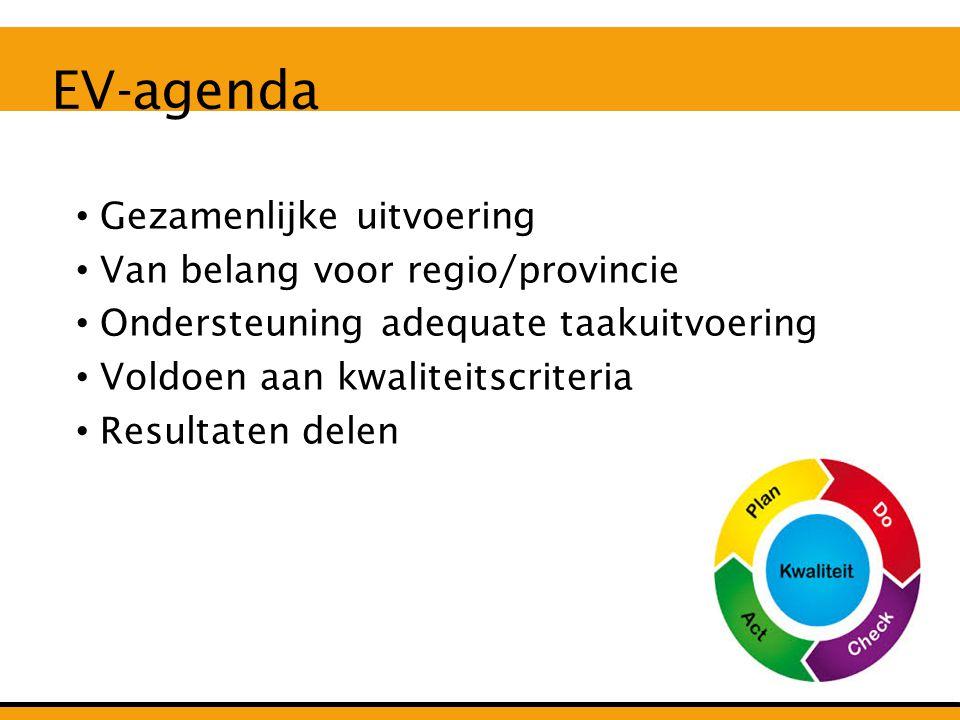 EV-agenda Gezamenlijke uitvoering Van belang voor regio/provincie