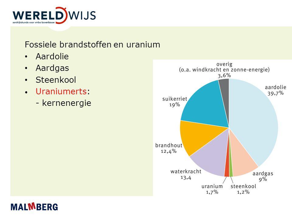 Fossiele brandstoffen en uranium Aardolie Aardgas Steenkool