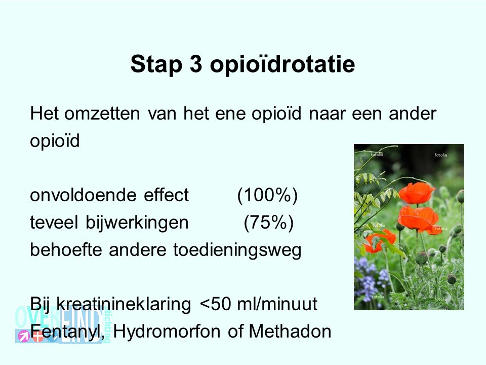 Stap 3 opioïdrotatie Het omzetten van het ene opioïd naar een ander