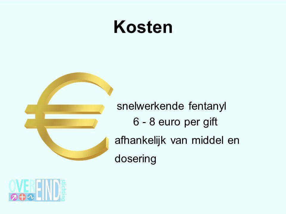 Kosten 6 - 8 euro per gift afhankelijk van middel en dosering