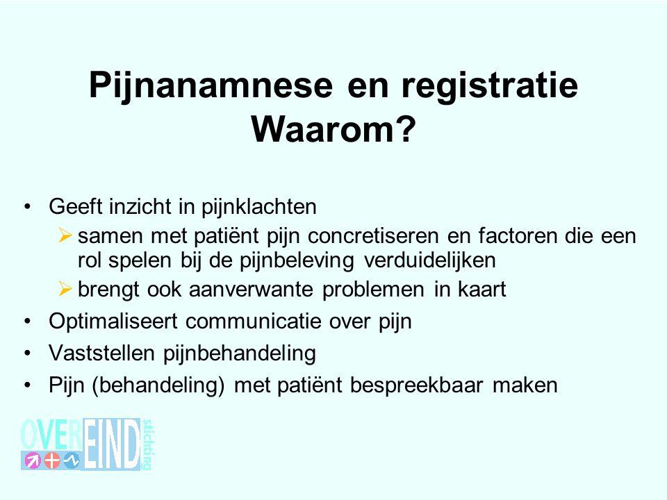 Pijnanamnese en registratie Waarom