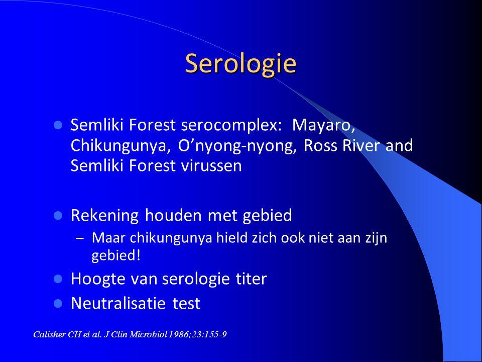 Serologie Semliki Forest serocomplex: Mayaro, Chikungunya, O'nyong-nyong, Ross River and Semliki Forest virussen.