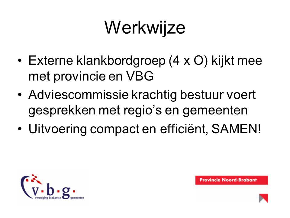 Werkwijze Externe klankbordgroep (4 x O) kijkt mee met provincie en VBG. Adviescommissie krachtig bestuur voert gesprekken met regio's en gemeenten.