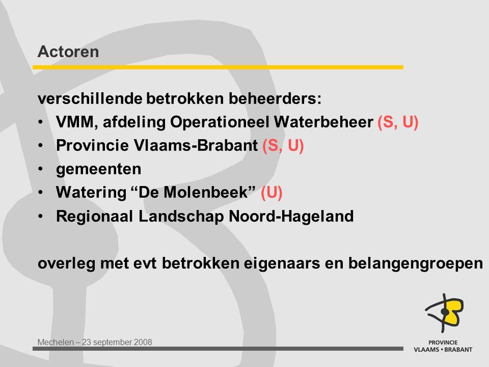 Actoren verschillende betrokken beheerders: VMM, afdeling Operationeel Waterbeheer (S, U) Provincie Vlaams-Brabant (S, U)