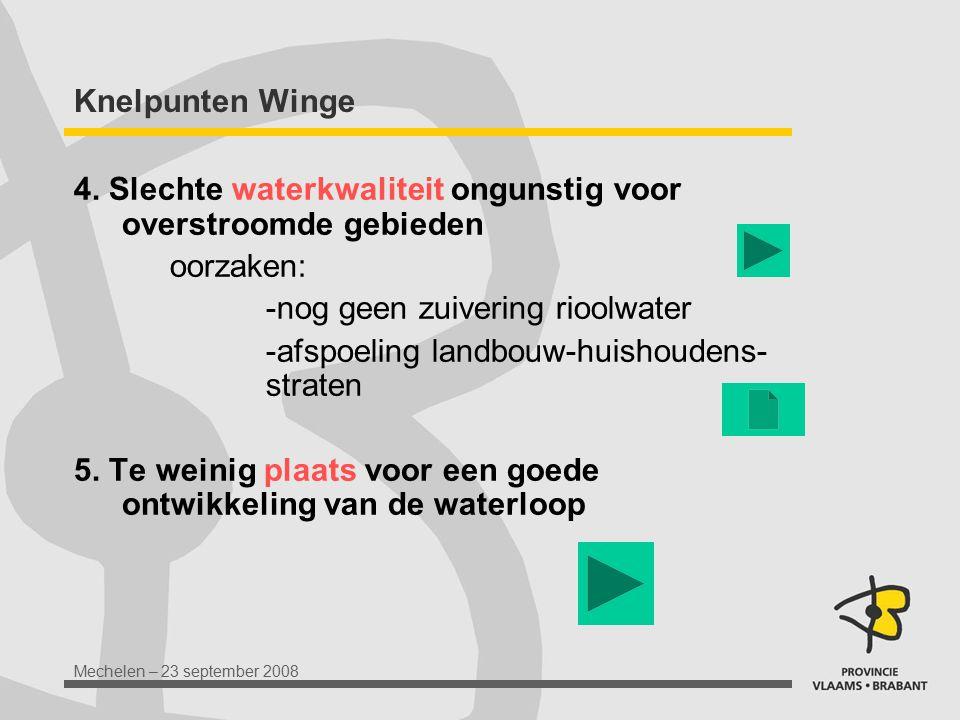 Knelpunten Winge 4. Slechte waterkwaliteit ongunstig voor overstroomde gebieden. oorzaken: -nog geen zuivering rioolwater.