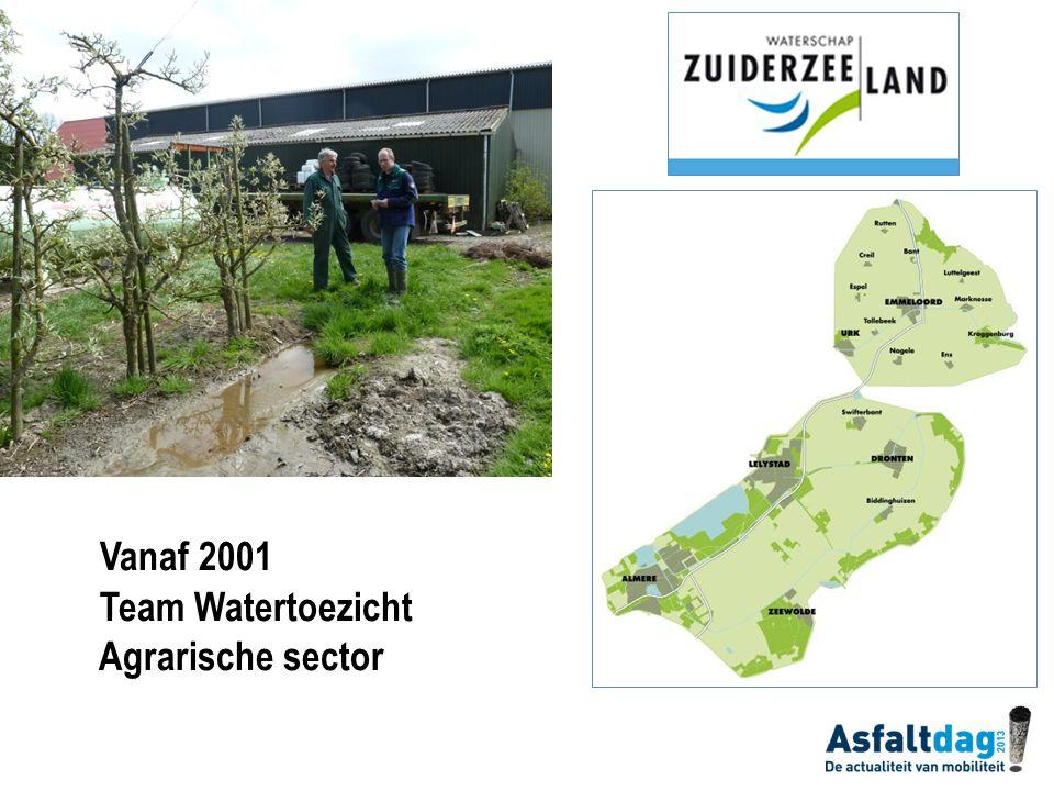 Vanaf 2001 Team Watertoezicht Agrarische sector