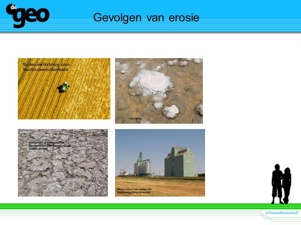 Gevolgen van erosie Bodemverdichting door landbouwmechanisatie.