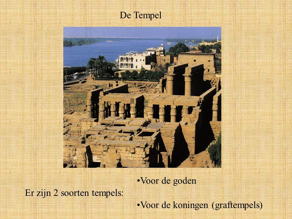 De Tempel Voor de goden Er zijn 2 soorten tempels: Voor de koningen (graftempels)