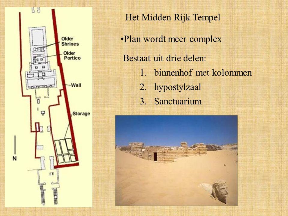 Het Midden Rijk Tempel Plan wordt meer complex. Bestaat uit drie delen: binnenhof met kolommen. 2. hypostylzaal.