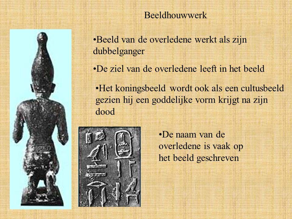 Beeldhouwwerk Beeld van de overledene werkt als zijn dubbelganger. De ziel van de overledene leeft in het beeld.