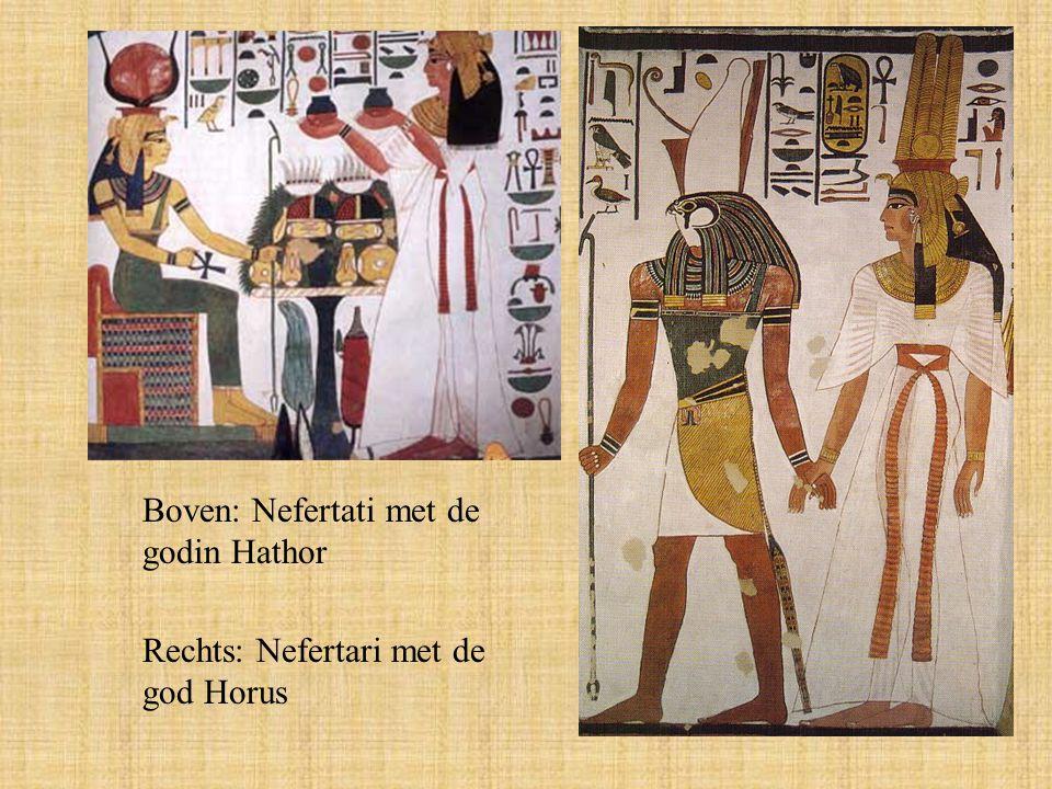 Boven: Nefertati met de godin Hathor