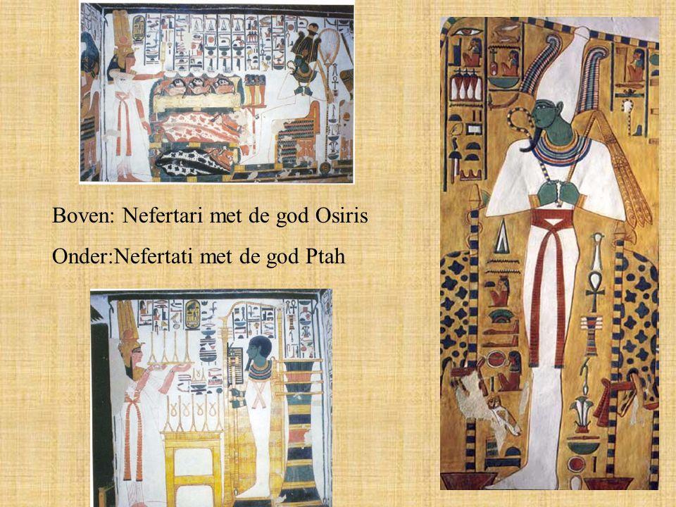 Boven: Nefertari met de god Osiris