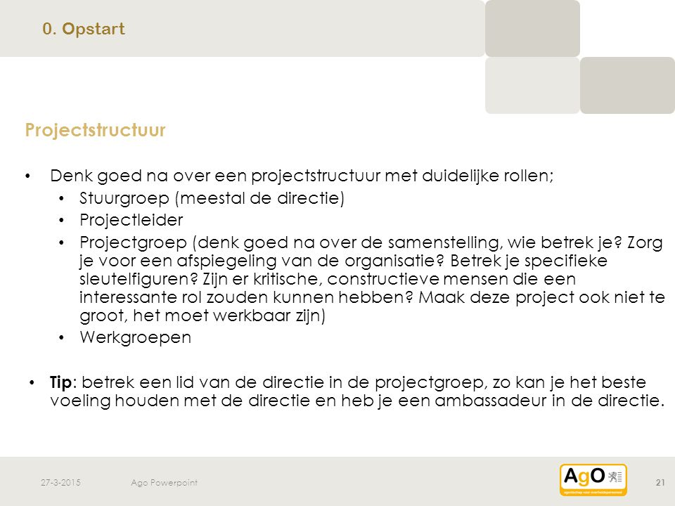 Projectstructuur 0. Opstart