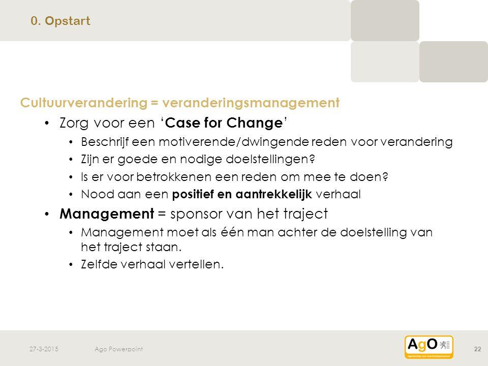 Zorg voor een 'Case for Change'