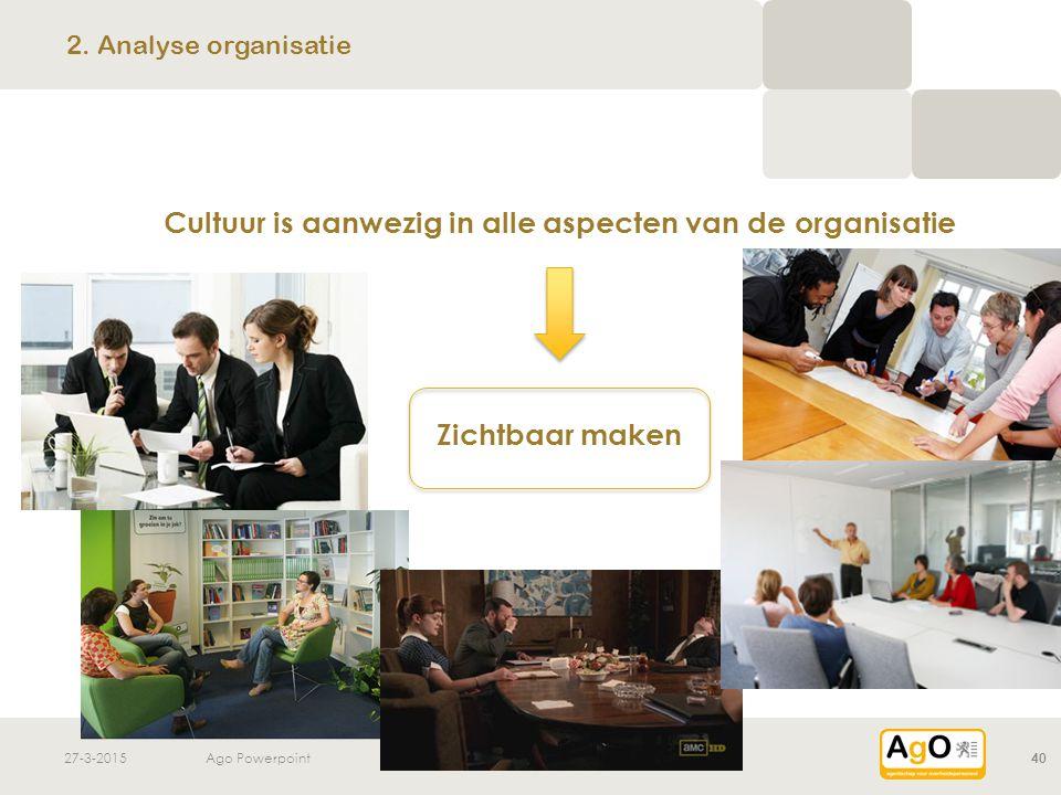 2. Analyse organisatie Cultuur is aanwezig in alle aspecten van de organisatie Zichtbaar maken 8-4-2017.