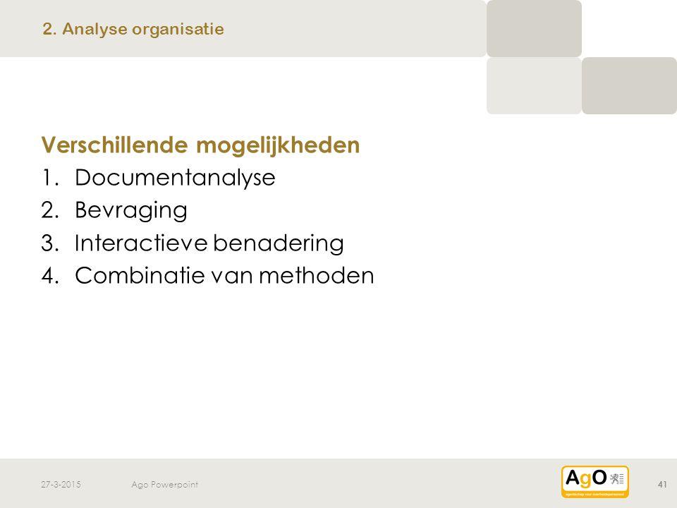 Verschillende mogelijkheden Documentanalyse Bevraging